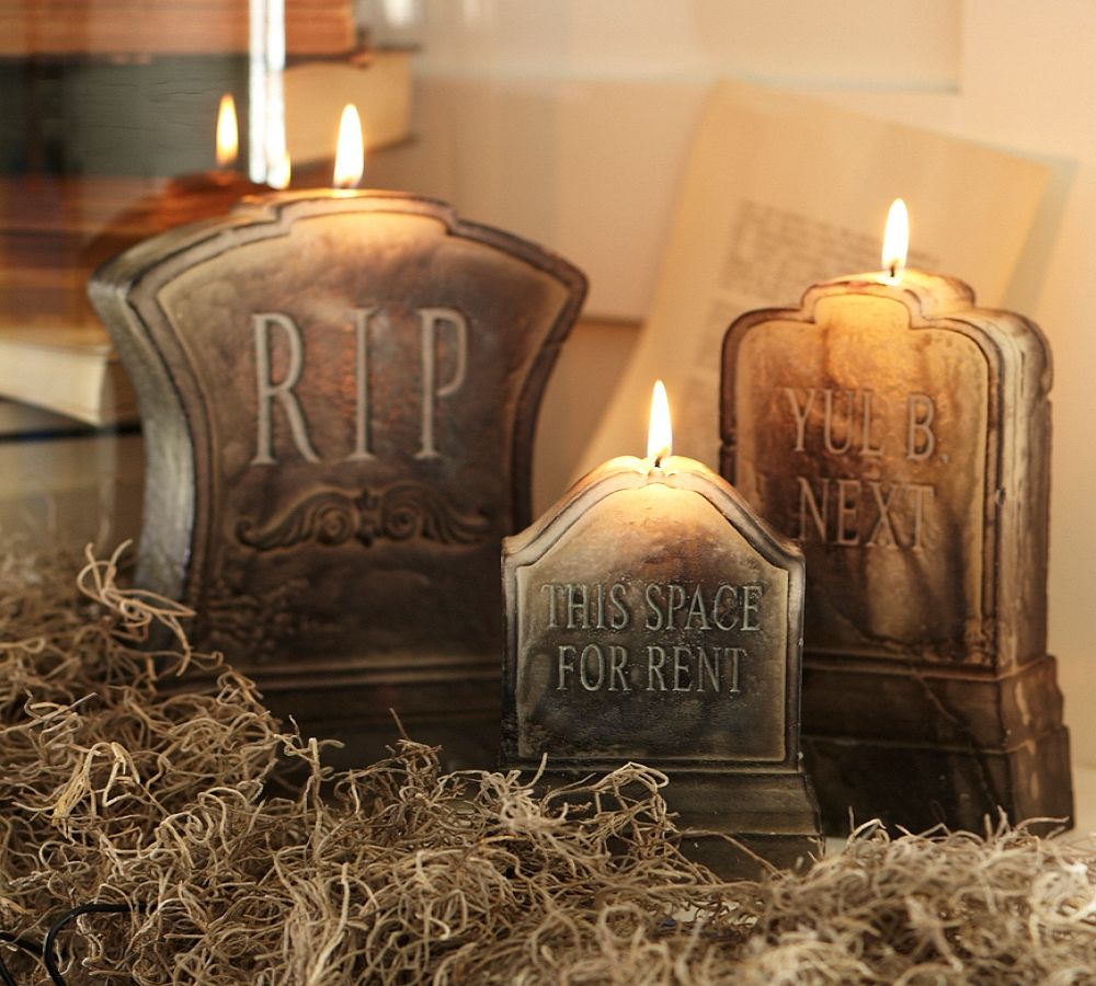 pottery barn halloween decor pottery barn halloween decor tombstone candles taryn wife - Pottery Barn Halloween Decor