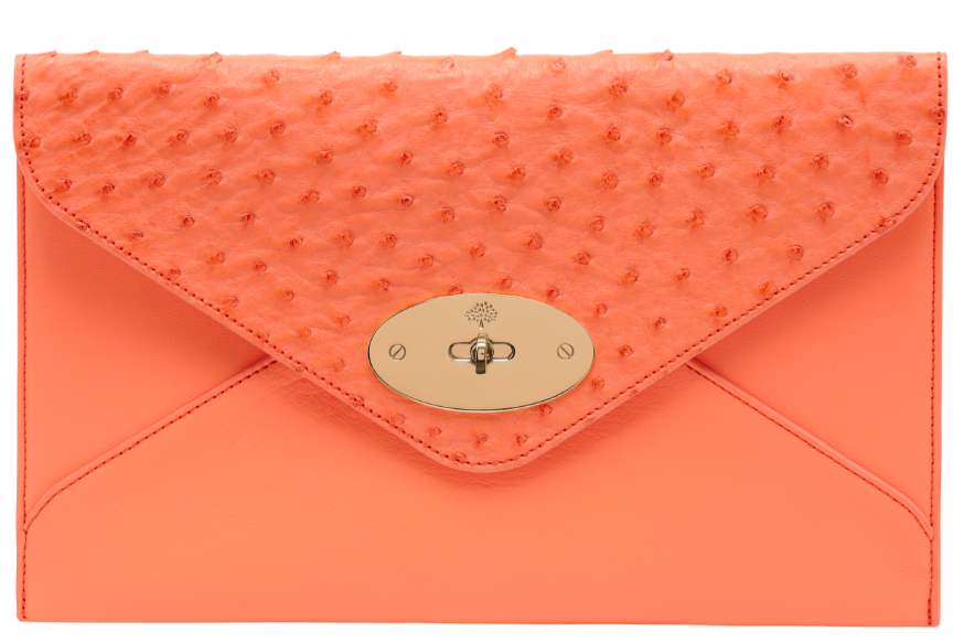 Willow Clutch Calf Ostrich Mix Bright Apricot