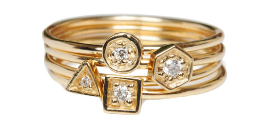 laura lee 10k yellow gold and diamond stacked rings