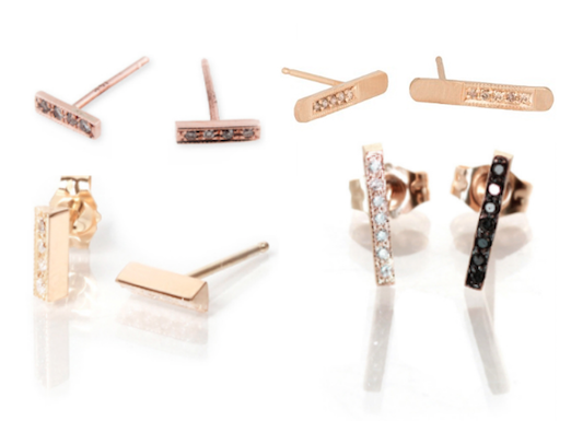 store earrings and satomi general pin kawakita diamond shop stud earring gold bar
